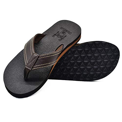 KuaiLu Men's Yoga Mat Leather Flip Flops Thong Sandals with Arch Support Brown, 7