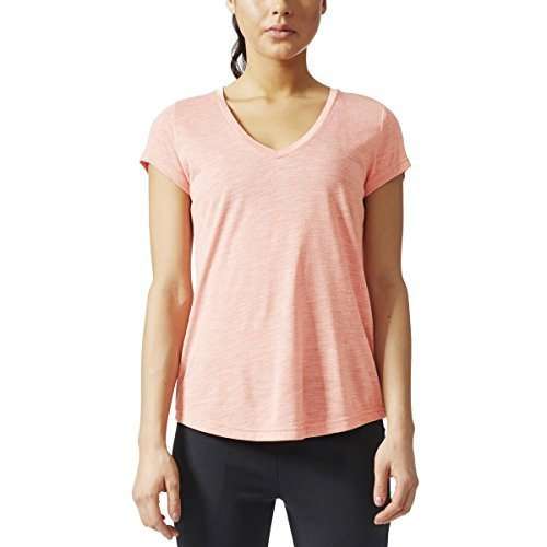 adidas Womens Athletics Graphic V Neck Tee, Tactile Rose, X-Small