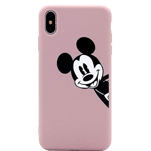 iPhone Xs Max Case, MC Fashion Cute Cartoon Printed Mickey Mouse Case for Teens Girls Women, Ultra Slim Soft Thickened TPU Case for Apple iPhone Xs Max (2018) 6.5-Inch (Dusty Pink)
