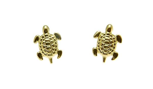14K Gold Hawaiian Honu Sea Turtle Earring with Diamond.