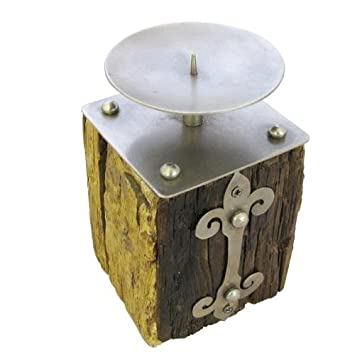 Amazon De Rustikale Eisenbahn Bett Kerze Mit Verwitter Silber