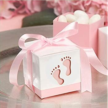 Since 50pcs Baby Shower Ribbon Favour Gift Candy Boxes Wedding Favors And  Gifts For Wedding (Pink)