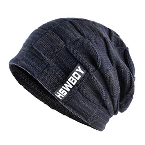 Sombrero Sombreros cráneos Punto Gorras de Invierno Azul de Gorros Turbante Hombres Lana wvxS5