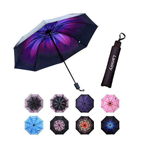 Compact Travel Umbrella,Windproof Waterproof Stick Umbrella Anti-UV Protection Golf Umbrellas