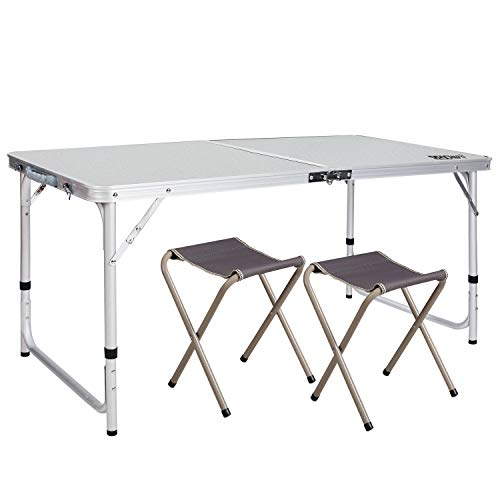 REDCAMP 4 Foot Aluminum Folding Table and Chairs Set, Adjustable Height Lightweight Portable Camping Table for Picnic Outdoor Indoor (White with 2 Stools)