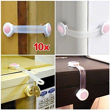 SODIAL (R) 10 x Blocco Armadio Gabinetto Frigo porta serratura di sicurezza di bambini - Rosa SODIAL(R)