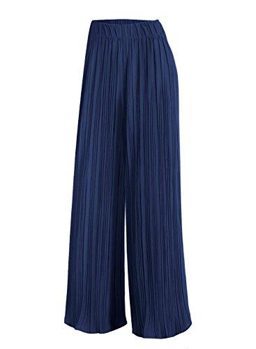 Pant Pleated Womens (Arolina Women's Elastic Waist Pleated Wide Leg Palazzo Pants (Large, Blue))