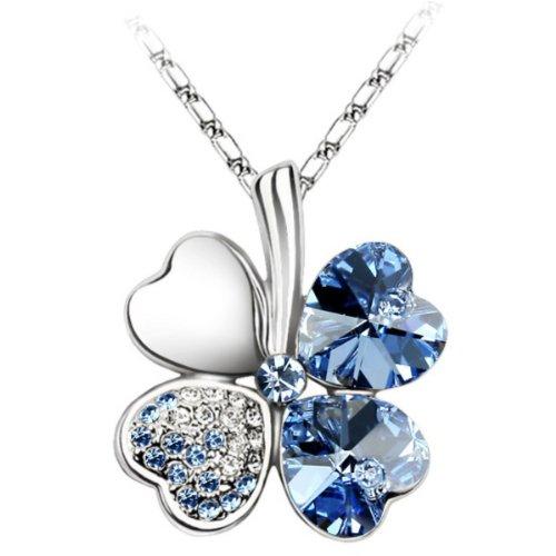 White Gold Plated Swarovski Crystal Heart Shaped Four Leaf Clover Pendant Necklace - Light (Swarovski Crystal Gold Plated Necklace)