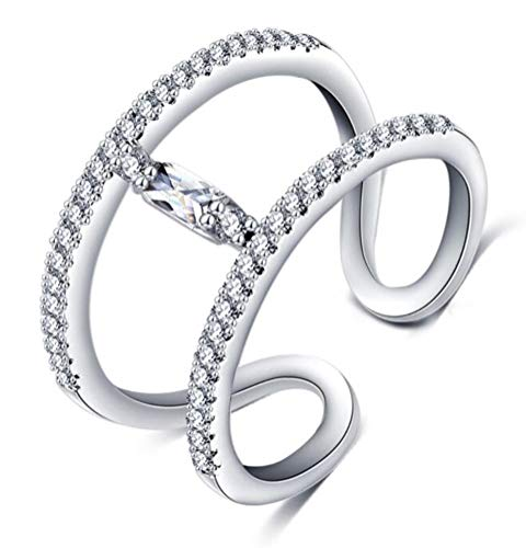 Double Row Baguette - TEMEGO 14K White Gold Double Row Wrap Open Cuff Ring Baguette Solitaire Cubic Zirconia CZ Stacking Ring
