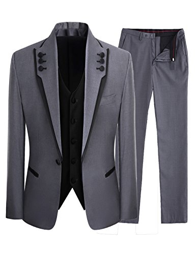 Lilis Men's Fashion Gray 3 Pieces Men Suits Wedding Suits One Button Groom Tuxedos by Lilis