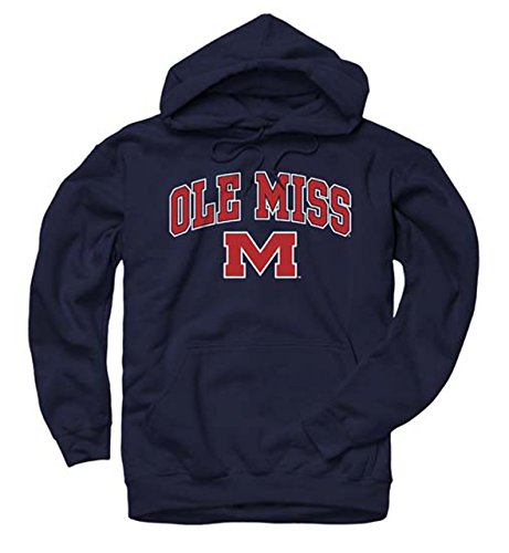 Ncaa Sweatshirt Hooded - Campus Colors Ole Miss Rebels Arch & Logo Gameday Hooded Sweatshirt - Navy, Small