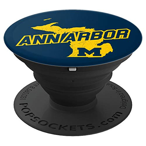 Ann Arbor, MI - Michigan Maize Yellow Blue Map - PopSockets Grip and Stand for Phones and Tablets