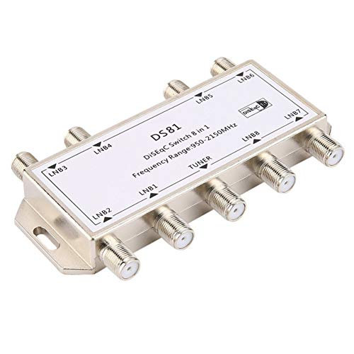 Liobaba DS81 8 in 1 Satellite Signal DiSEqC Switch LNB Receiver Multiswitch Heavy Duty Zinc Die-cast Chrome ()