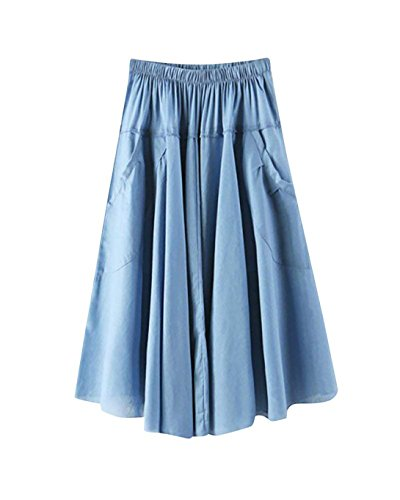 Haute L' Jupe Casual Longueur Poche Taille pour t 1 Femme avec Pliss Color Genou Jupe qBgHHE