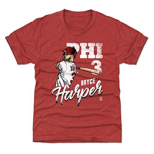 500 LEVEL Bryce Harper Philadelphia Phillies Youth Shirt (Kids X-Small (4-5Y), Tri Red) - Bryce Harper Team W -