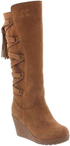 BEARPAW Women's Britney Fashion Boots, Brown Cow Suede, Sheepskin Fur, Rubber, 11 M (Sheepskin Womens Wedge Suede)