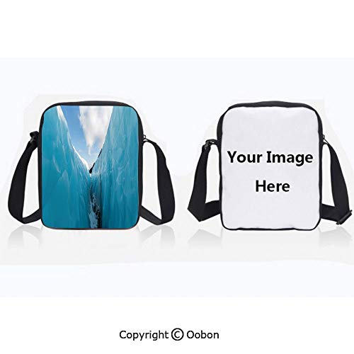 Polyester Anti-Theft Cross-Body Bag Unisex Adult Frozen Ice Mountains in North South Polar Cubes Winter Theme Art Print White and Blue Zipper Bucket Anti Theft Bag For Journey