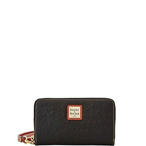 Dooney and Bourke Ostrich Emb Zip wristlet wallet Black