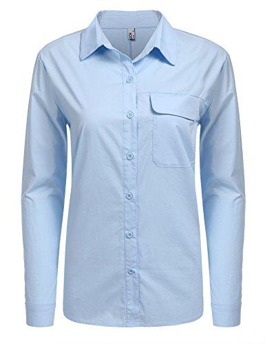 Clair BeautyUU Bleu Coton XL S Femme 100 Casual Poche Poitrine Chemisier Longues Sur Manches RwRFU7xrOq