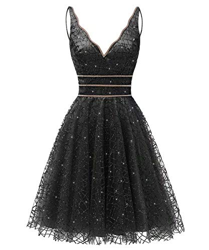 208b99559b4dc Women's Tulle Prom Gown Short Homecoming Dresses Crystal Sparkle Party  Dresses(Black,02)