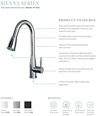 Builders Shoppe 1150CP 16 Single Handle Pull-Down Kitchen Faucet Chrome Finish
