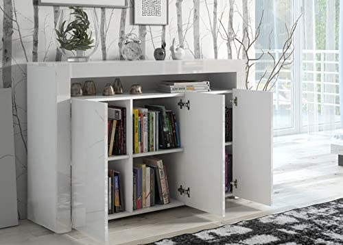 IF Modern Large White High Gloss Sideboard with Blue LED Lights Quality Cupboard Cabinet Unit White High Gloss Top & Doors/White Matt Body LILY
