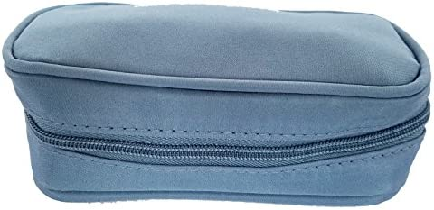 Microfiber Essential Oil Carry Case Holds 10 Bottles 5ML and 15ML Steel Blue