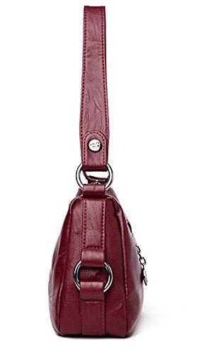 ROFBL180916 à Zippers Vineux Femme tout Achats bandoulière Sacs Cuir fourre Odomolor Rouge Pu Sacs nzqOPpp