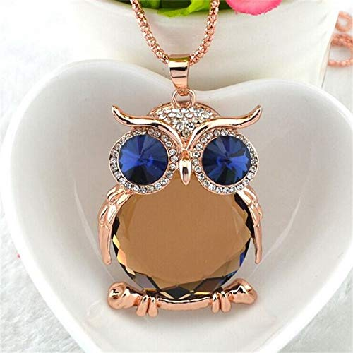 VATT 8 Colors Trendy Owl Necklace Rhinestone Crystal Jewelry Women Necklace Silver Chain Long Necklaces & Pendants Gold Champagne