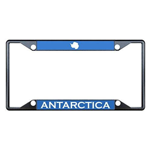 antarctica-flag-country-black-license-plate-frame-tag-holder-four-holes