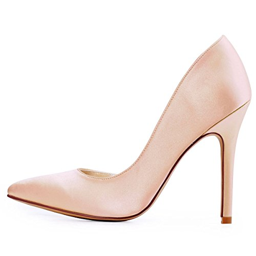 Toe ElegantPark High Satin Womens Dress Heel DOrsay Blush Pointed Pumps ETrFqxwUT