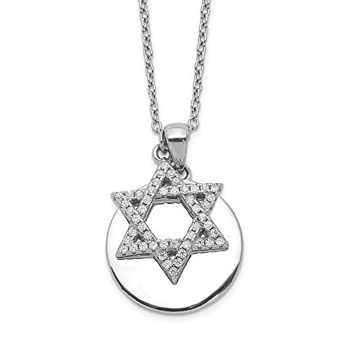 Sterling Silver Rhodium-plated CZ Star of David & Disc with 2in Extender Pendant Necklace ()