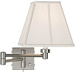 Ivory Shade Brushed Steel Plug-in Swing Arm Wall Lamp