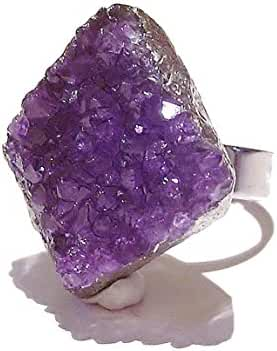 Large Natural Druzy Amethyst Rhodium Plated Cocktail Ring - Adjustable