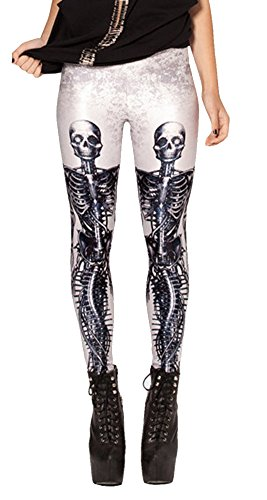 QZUnique Women's White Ground Mechanical Mermaid Print Sexy Leggings Pants (Ground Shipping Time)