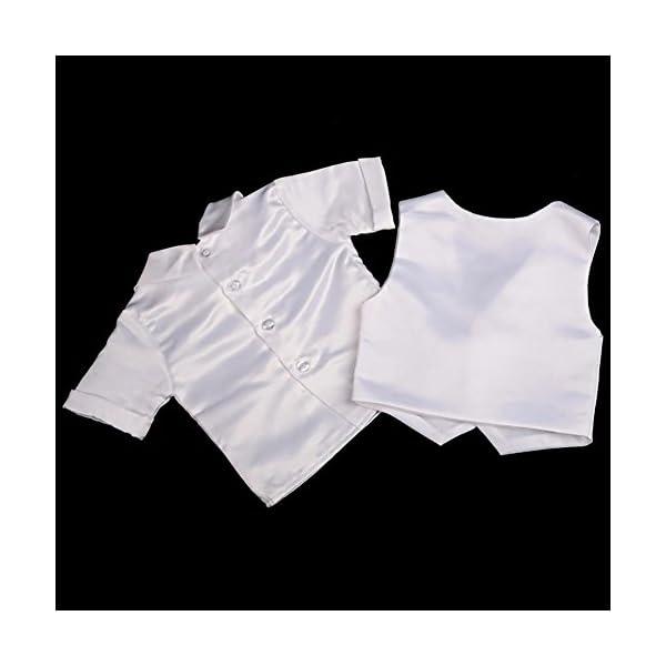 Lito Angels - Tuta da battesimo in raso, 4 pezzi, con cofano a maniche corte e lunghe 3