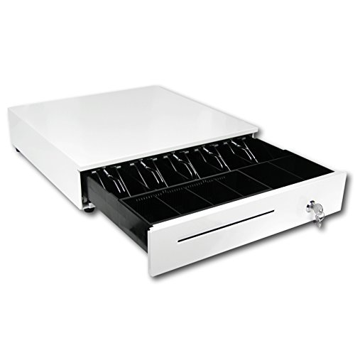 Cash Register Drawer for Point of Sale (POS) System with Removable Coin Tray - 5 Bill 6 Coin - 24V - RJ11 RJ12 Key-Lock - Media Slot - White