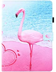 """Miagon for Universal Case for All {7""""}(Samsung Android Ipad Amazon Kindle etc) Tablet Case,PU Leather Folio Stand Wallet Magnetic Cover with Card Slots,Flamingo"""