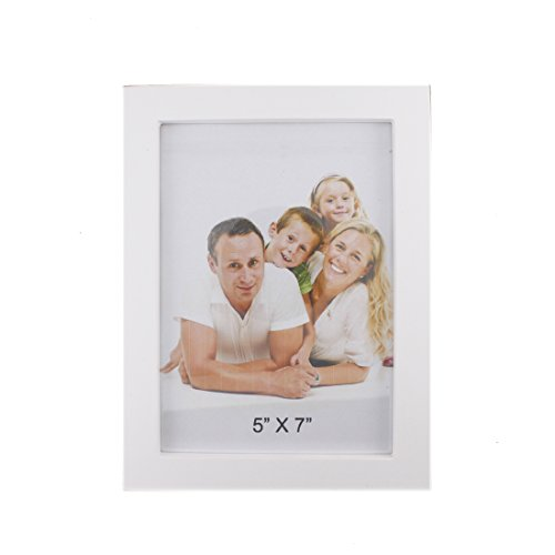 Classic Rectangular Wood Desktop Family Picture Photo Frame with Glass Front (Pure White, 5x7) (Purple And Gold Picture Frame)
