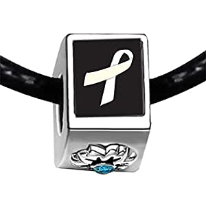 Chicforest Silver Plated white Aids Ribbon Photo Blue Zircon Crystal December Birthstone Flower Charm Beads Fits Pandora Bracelets