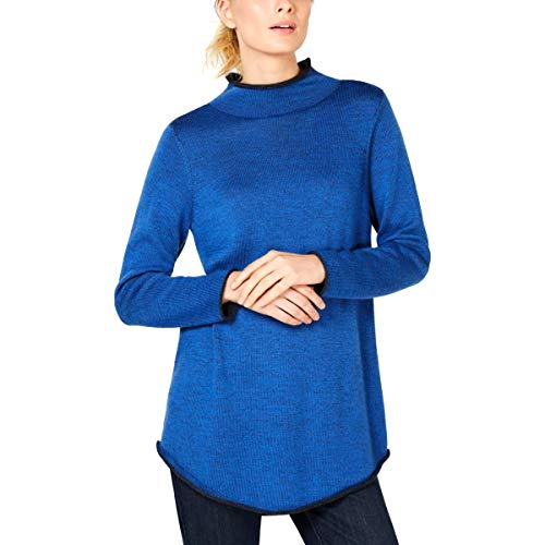 (Eileen Fisher Womens Petites Merino Wool Funnel Neck Pullover Sweater Blue PM)