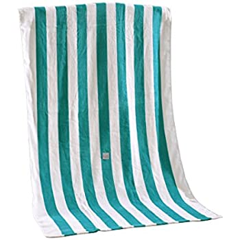 """100% Cotton Cabana Striped Beach Towel Caribbean Blue and White (30"""" x 60"""")—Soft, Quick Dry, Lightweight, Absorbent, and Plush"""