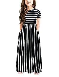 GORLYA Girl's Short Sleeve Floral Print Loose Casual Holiday Long Maxi Dress with Pockets 4-12 Years