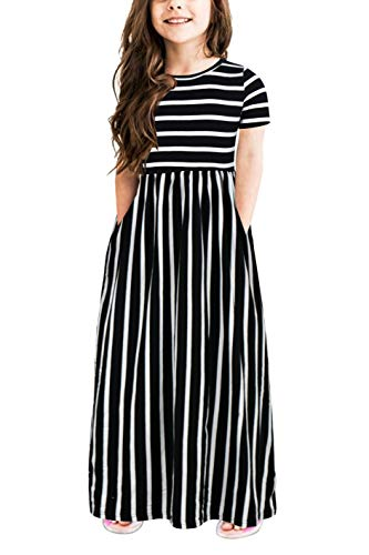 Gorlya Girl's Short Sleeve Floral Print Loose Casual Holiday Long Maxi Dress with Pockets 4-12 Years (11-12Years/Height:150cm, Black Stripe) -