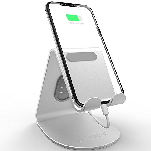 LAMEEKU Cell Phone Stand Compatible with iPhone and Android, 4mm Thickness Aluminum Desktop Cradle Dock, ARC Charging Station for All Smartphone, iPhone Xs Max, iPhone XR, iPhone Xs, iPad, Silver