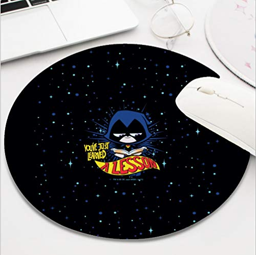 Nxmouse Customization Round Gaming Computer Keyboard Mouse Pad Mouse Mat with Non-Slip Rubber Base(8 Inch) Teen Titans go Raven Learned a Lesson Mousepad.]()
