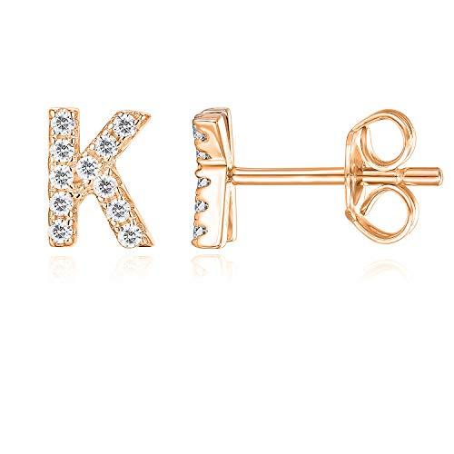 PAVOI 14K Rose Gold Plated Sterling Silver CZ Alphabet Letter Earrings | Initial Earrings for Girls | Letter ()