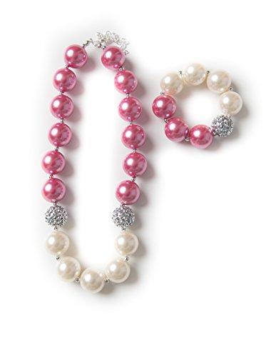 Girls bubblegum necklace and bracelet set (Mauve & Cream set)