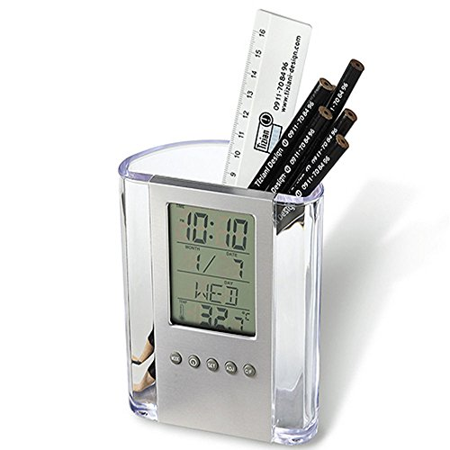 ❤️MChoice❤️Multi-Functions Desk Pen Holder LCD Display Alarm Clock Thermometer Calendar