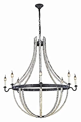 "Elegant Lighting 1502G43IW Woodland Collection Pendant Lamp D43"" H49"" 8-Light, Grey"